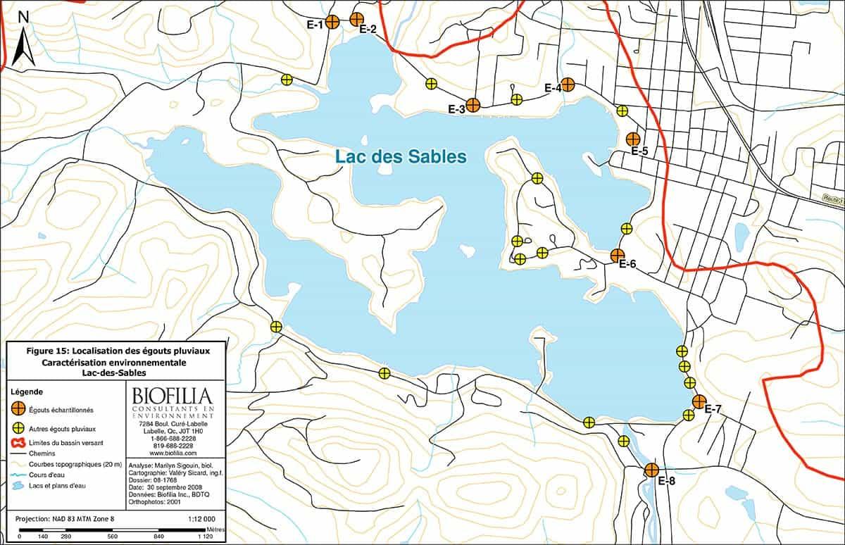 Localisation des égouts pluviaux - Lac des Sables
