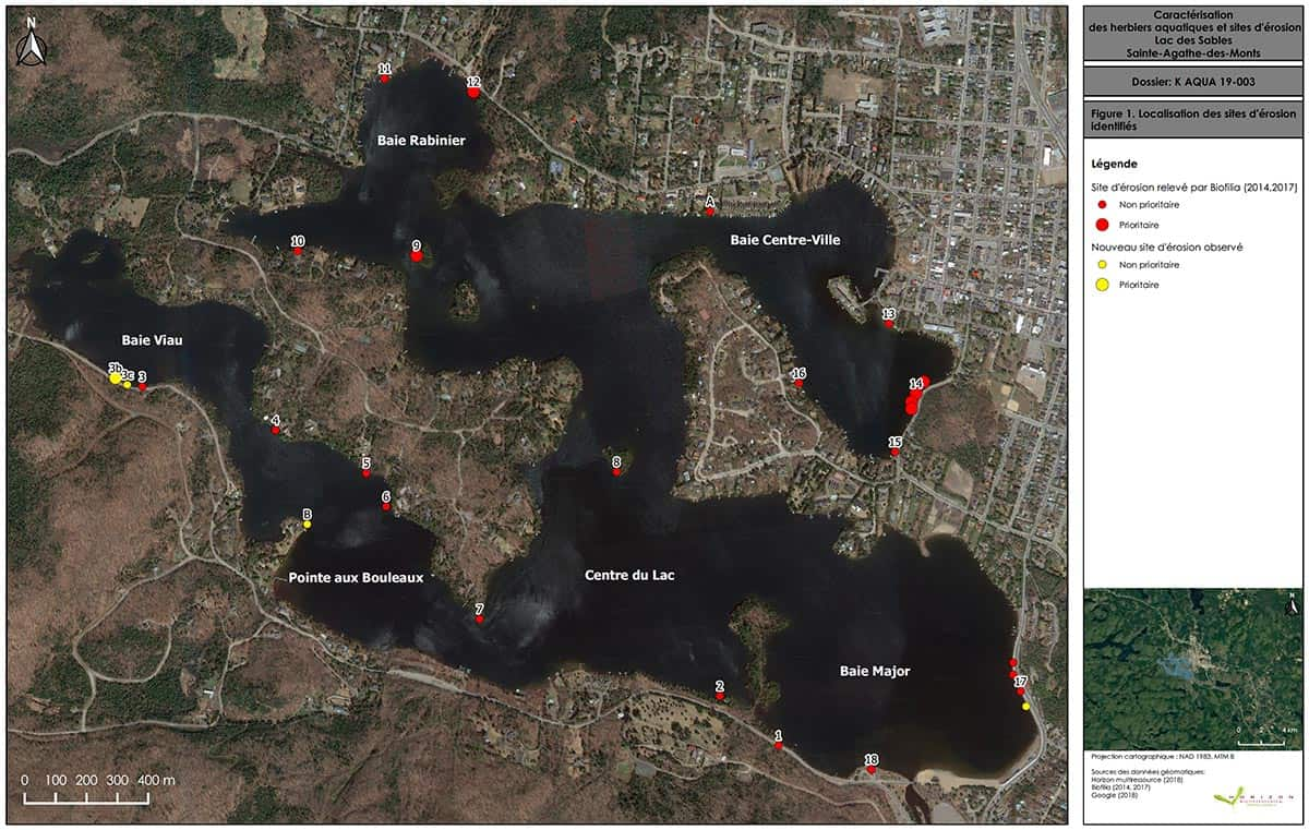 Location des sites d'érosion - Lac des Sables