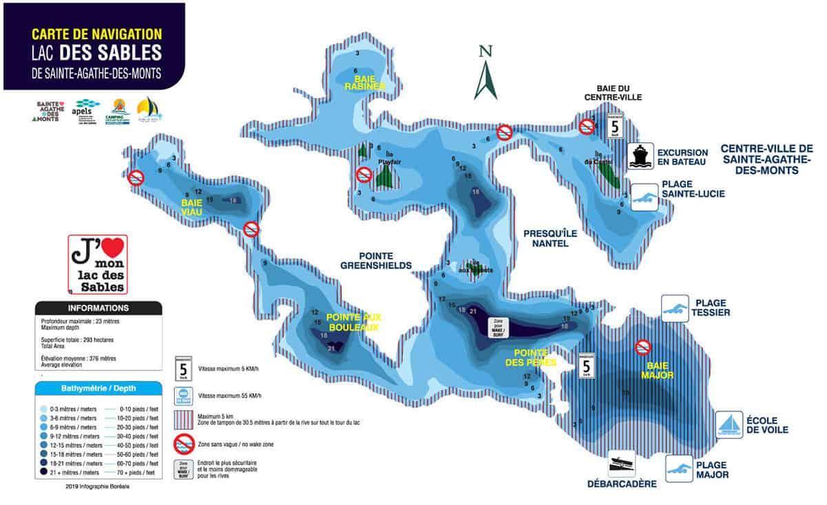 Carte de navigation Lac des Sables